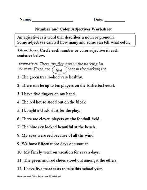 regular adjectives worksheets number  color