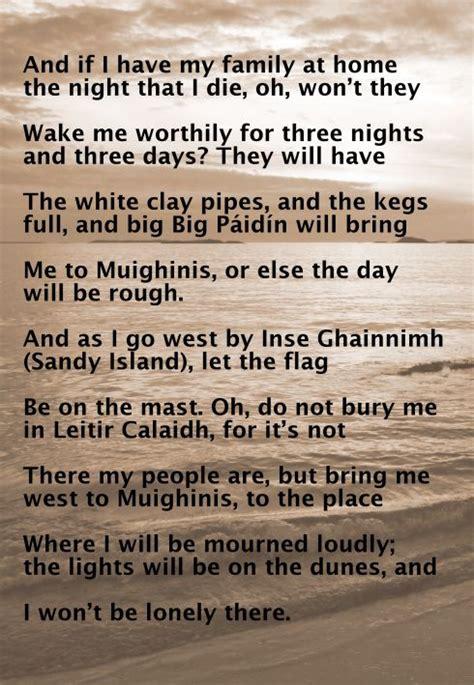 Irish song lyrics- the sean nos song Amhrán Mhuighinse
