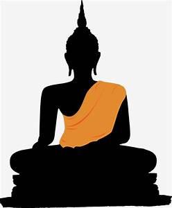 Silhouette of Buddha, Buddha, Buddhism, Golden Buddha PNG ...