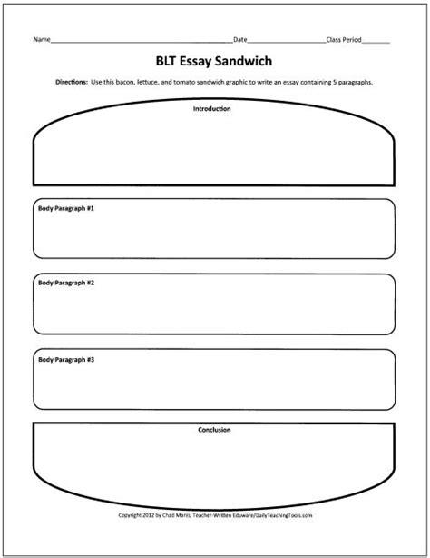 Sandwich Template For Writing Blt Essay Sandwich Graphic Organizer Teach Writing