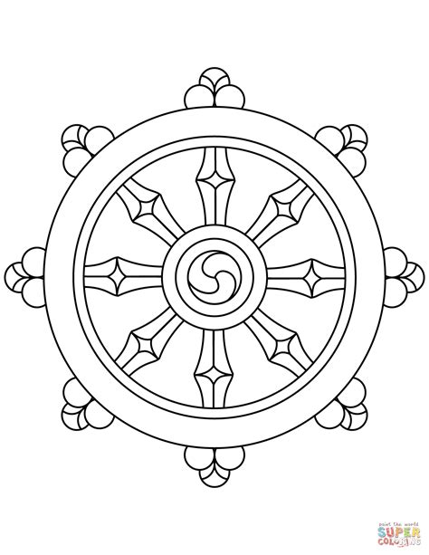 dharma wheel coloring page  printable coloring pages