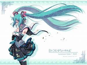Aqua, Hair, Hatsune, Miku, Headphones, Long, Hair, Skirt, Tattoo, Thighhighs, Tie, Twintails, Vocaloid