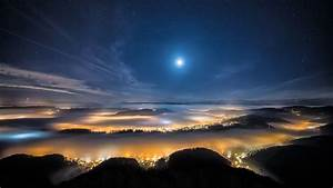 Night, Moon, Stars, Forest, Trees, Mist, City, Wallpapers, Hd, Desktop, And, Mobile, Backgrounds