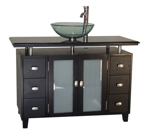 46 Inch Bathroom Cabinet by Adelina 46 Inch Vessel Sink Bathroom Vanity Black Granite Top