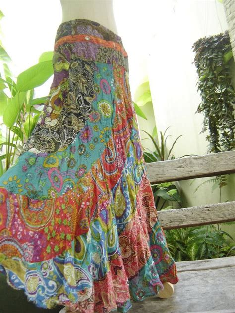 soft cotton patchwork extra long skirt om gypsy
