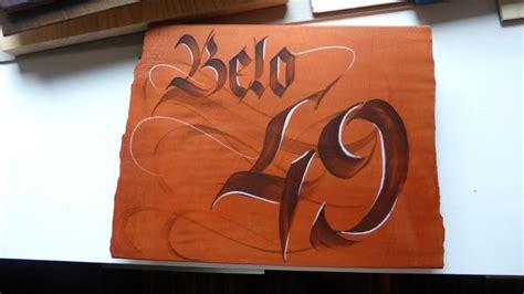 calligraphy  loredana zega wood