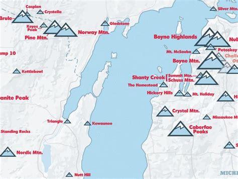 ski map resorts midwest upper poster 18x24
