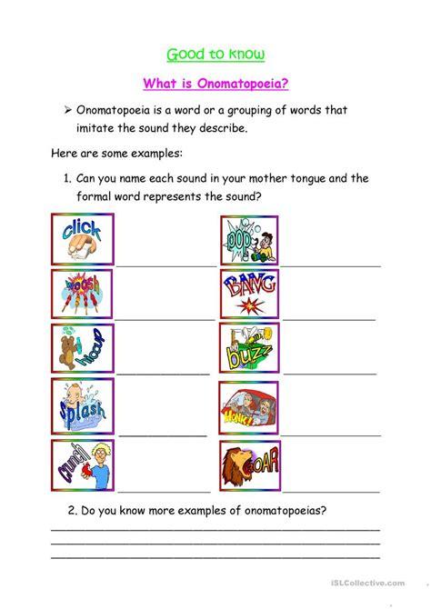 what is onomatopoeia worksheet free esl printable