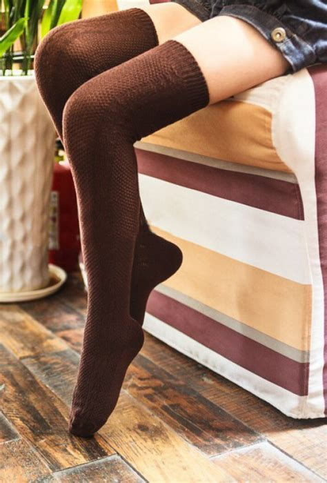 socks preppy life cable knit brown thigh high socks