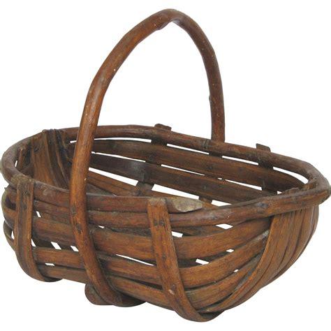 panier basket chambre vintage wooden slatted gathering basket garden