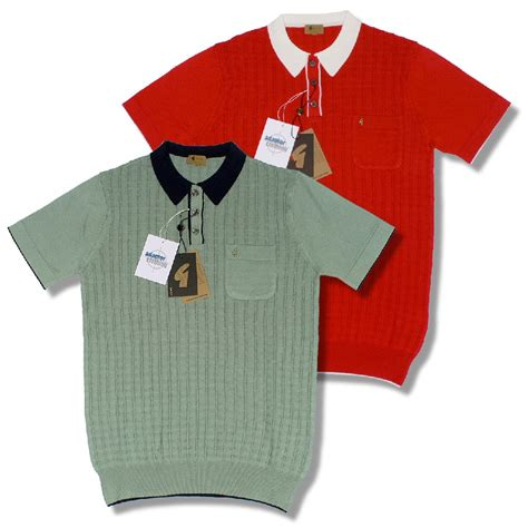 /Gabicci Vintage Mod Retro 60u0026#39;s S/S Square Knit Polo Shirt | Adaptor Clothing