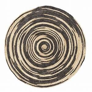 Tapis Boheme Chic : madam stoltz tapis rond jute tresse motif cercle irregulier noir et naturel ethnique boheme chic ~ Teatrodelosmanantiales.com Idées de Décoration