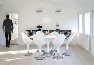 design salle a manger en blanc optez pour la purete With salle À manger contemporaineavec chaise design blanche