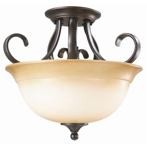 home depot kitchen lighting fixtures design house cameron 2 light rubbed bronze semi flush 7121