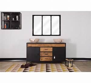 Meuble Vasque De Salle De Bain : meuble de salle de bain industriel double vasque atelier 7617 ~ Melissatoandfro.com Idées de Décoration