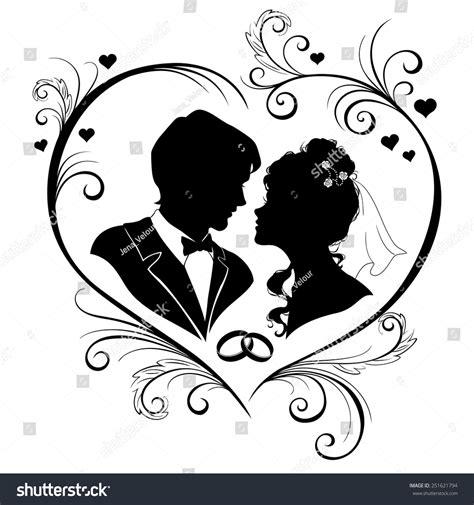 wedding invitation card silhouettes bride groom stock