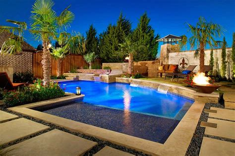 beautiful swimming pool landscaping  trees home