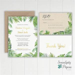 tropical watercolor palm leaf wedding invitation With tropical print wedding invitations