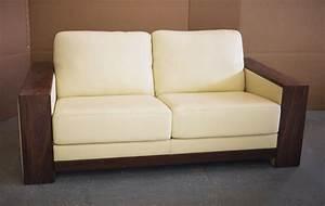 canape avec accoudoirs en bois With canapé cuir bois