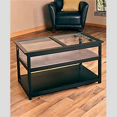 Black Coffee Table Display Case Glass Top Memorabilia End