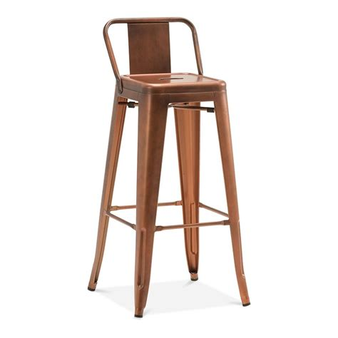 chaise de bar vintage tolix style metal bar stool with low back rest vintage