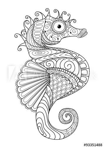 Hand drawn sea horse zentangle style for coloring page,t shirt design… | Free coloring pages