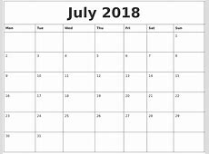 July 2018 Free Printable Monthly Calendar