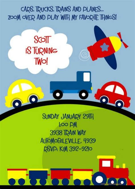 kids ideas vehicle theme  printable birthday