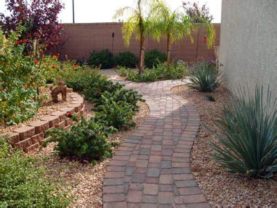 Las Vegas Backyard Design by Las Vegas Landscapers Pavers Pathway And Retaining Wall