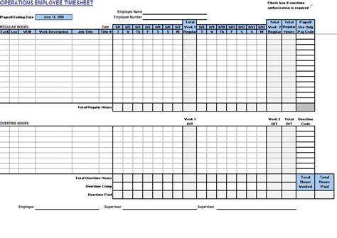 operations employee timecard  excel templates