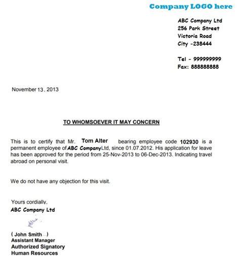 schengen visa leave letter sample employee leavenoc