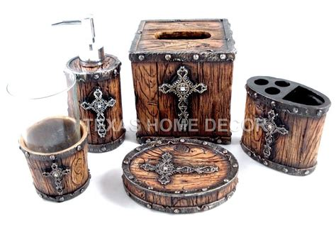 Rustic Bathroom Sets by Rustic Cross Bathroom Accessory Set 5 Pieces Faux Wood