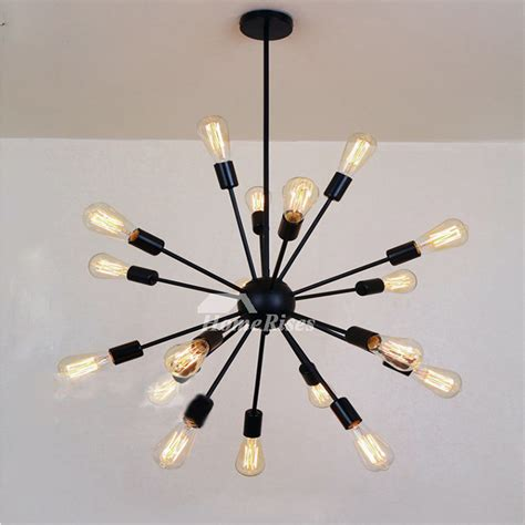 Buy Sputnik Chandeliers For Sale by Industrial Chandelier 18 Light Wrought Iron Black Bar