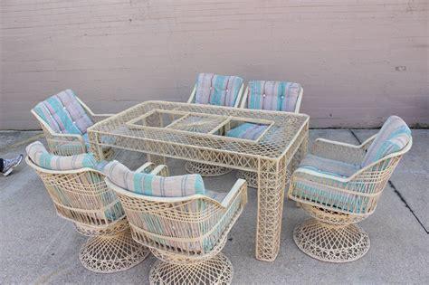 spun fiberglass outdoor dining set by woodard at