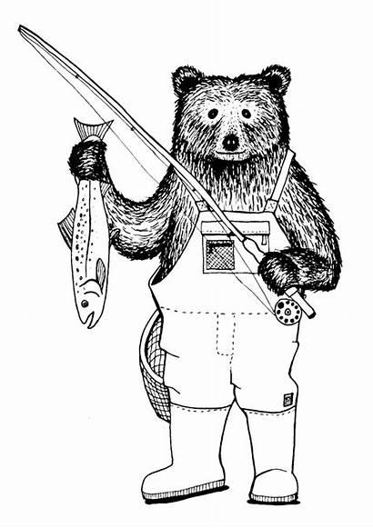 Salmon Fishing Bear Eating Illustration Tag