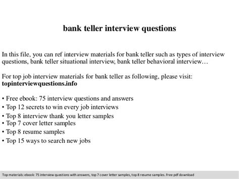 Bank Teller Questions And Answers Exles bank teller questions