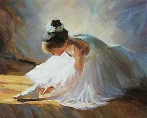 Ballerina Girl Checking Her Shoes Original Oil Painting on ...