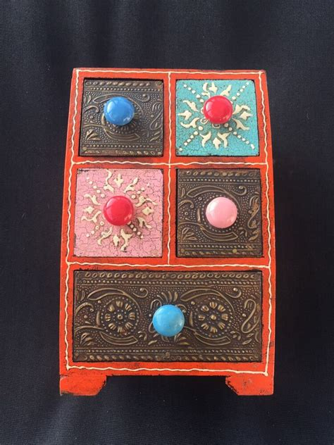 colorful embossed vintage indian style wood jewelry box