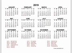 2019 Yearly Calendar Template Excel Free Printable Templates