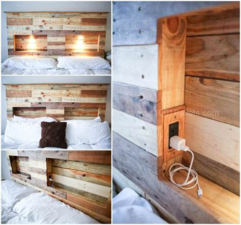 Pallet Headboard With Integrated Lights Bedroom