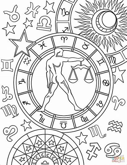 Zodiac Coloring Libra Pages Sign Signs Colouring