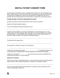 free dental patient consent form word pdf eforms free fillable forms