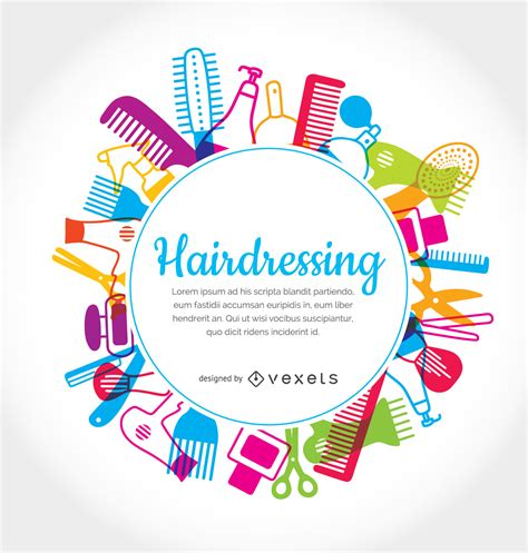 hairdressing elements rounded frame vector