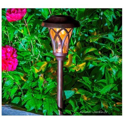 borne solaire leds balise 224 planter design esprit lanterne romantique pas cher