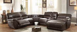 Homelegance blythe ii power sectional sofa dark brown for Sectional sofa with table wedge