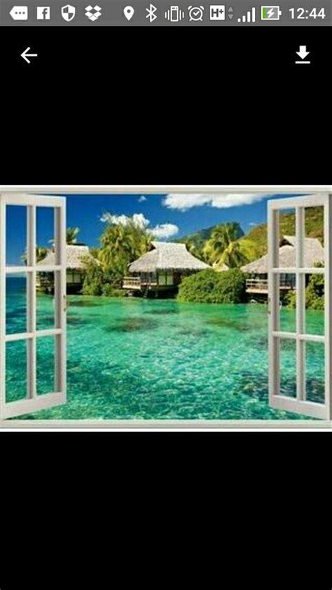 jual tiga dimensi wallpaper window beach readystock