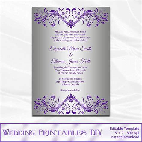 silver foil wedding invitation template diy purple and