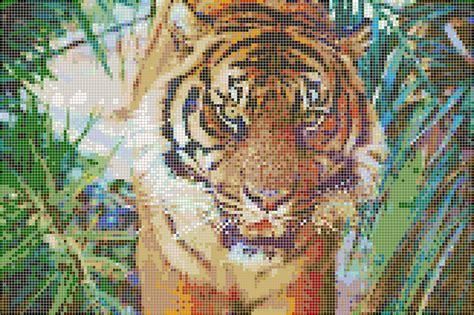 sumatran tiger mosaic tile