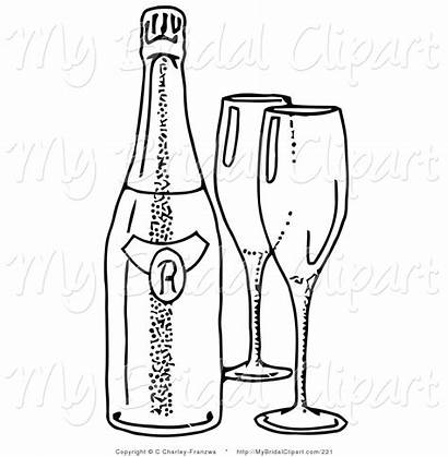 Bottle Wine Coloring Glasses Pages Clipart Empty