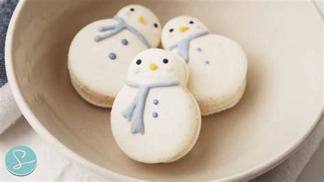 snowman macarons  cream cheese swiss meringue